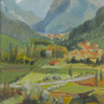 This plein aire painting was done on a narrow stone road along the side of a hill town in Umbria, Casteldelago.  I believe the name means castle on the lake, neither of which I could see from my vantage point!  It was a Sunday morning and villagers would walk by on their way to Mass.  I noticed most of the men in town were down at the espresso place and it was the women dutifully heading alone to church.